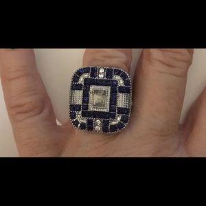 Jewelry - Unique Square Lab Created Blue/White Sapphire Ring